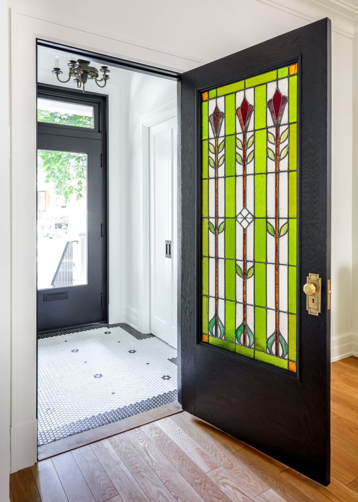Door with stained glass